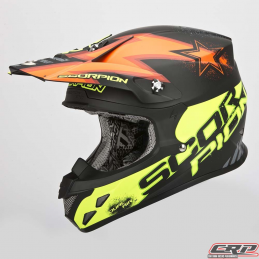 Casque cross SCORPION Vx-20 Air Magnus Noir Mat Fluo Orange Fluo Jaune 2015